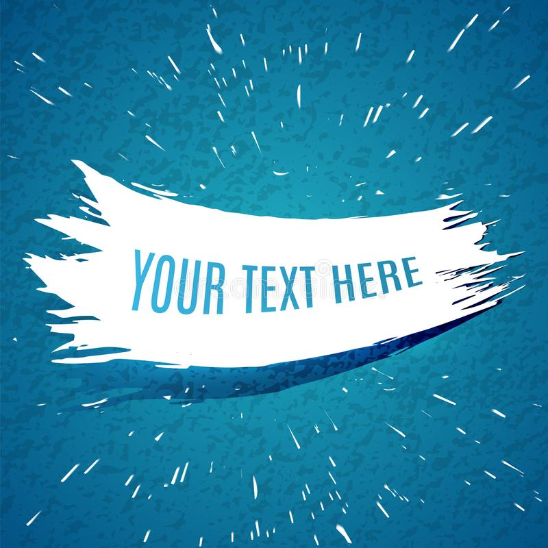 Course blanche grunge de brosse sur le fond texturisé bleu Explo d'encre illustration stock