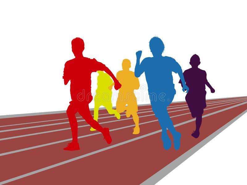 Course colorée d'homme fonctionnant sur la voie illustration stock