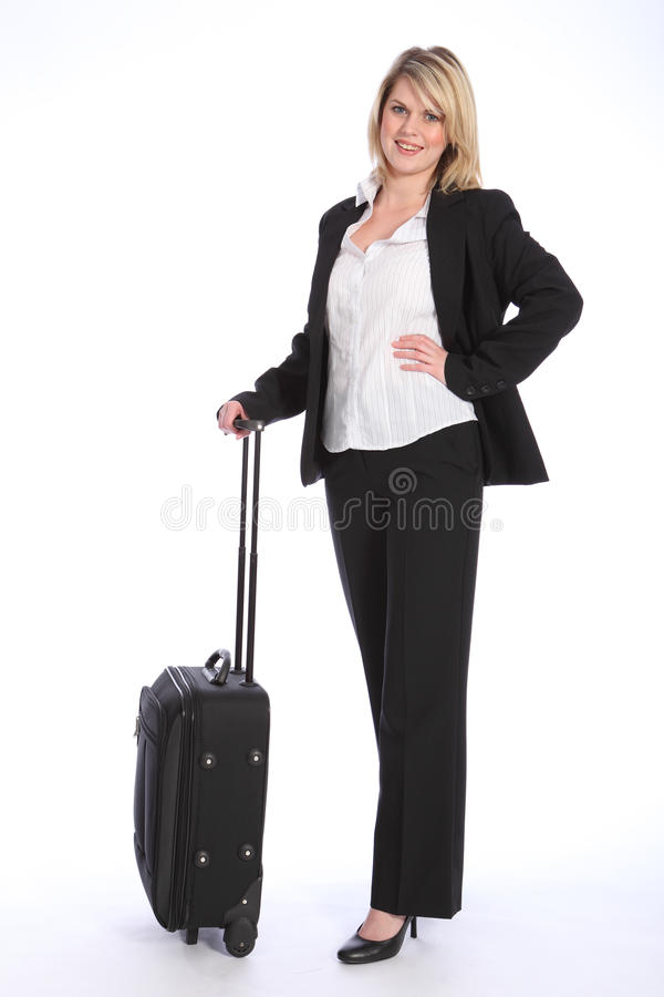 Course d'affaires pour le beau jeune femme blond image stock