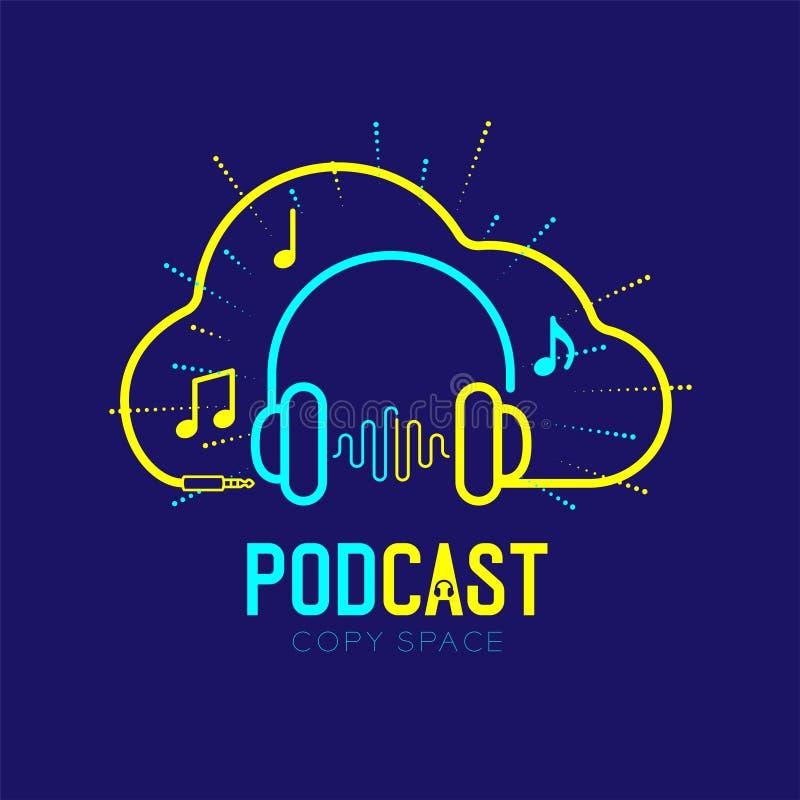 Course d'ensemble d'icône de logo d'écouteur avec la ligne conception, concept en ligne Podcast de tiret de câble de cadre de for illustration libre de droits