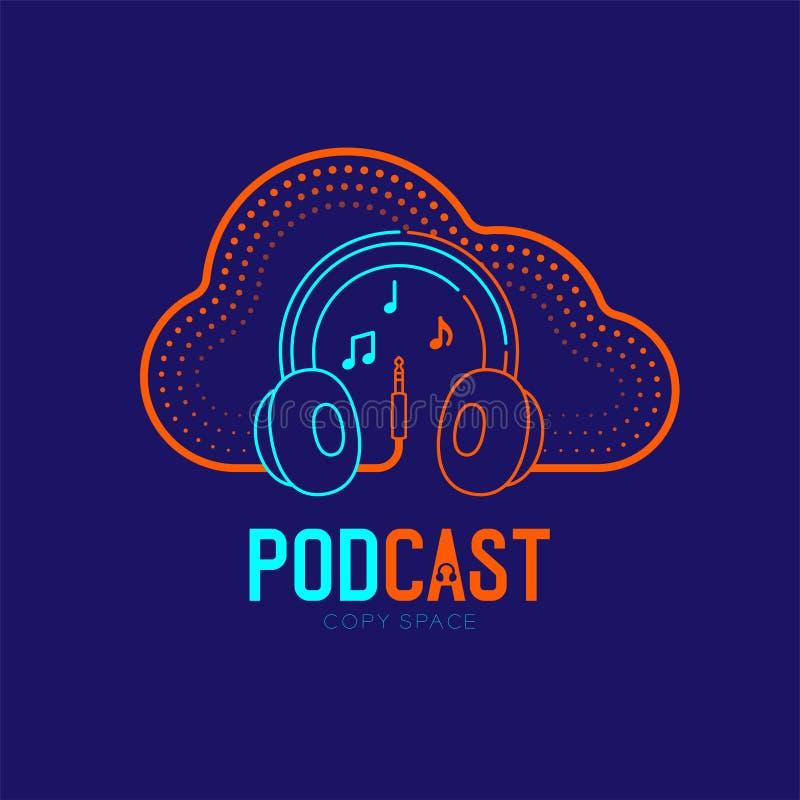 Course d'ensemble d'icône de logo d'écouteur avec la ligne conception, concept en ligne Podcast de tiret de câble de cadre de for illustration stock