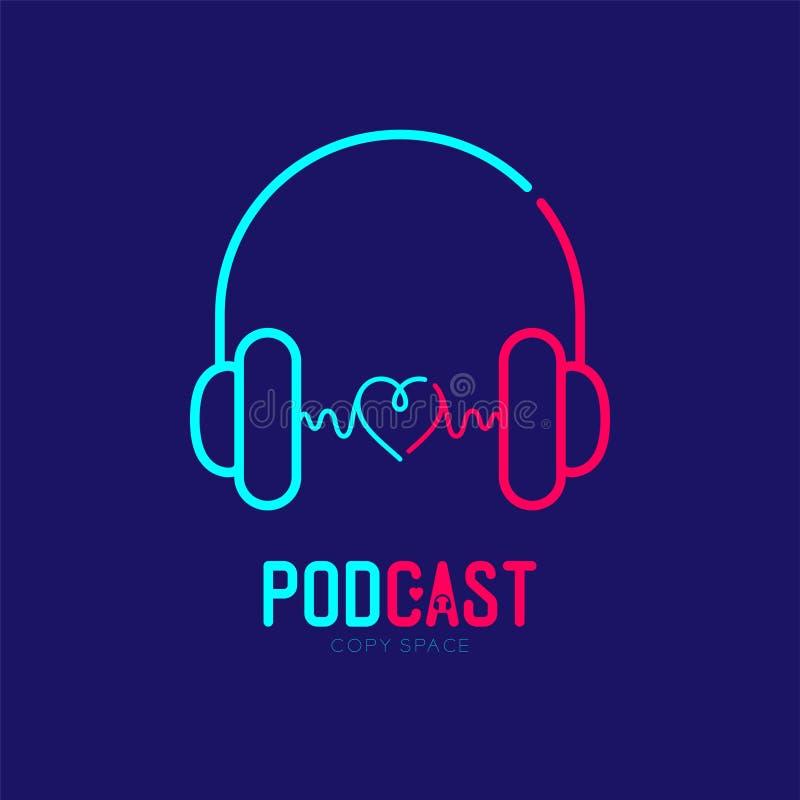 Course d'ensemble d'icône de logo d'écouteur avec la ligne conception, concept en ligne Podcast de tiret de symbole d'amour de co illustration stock