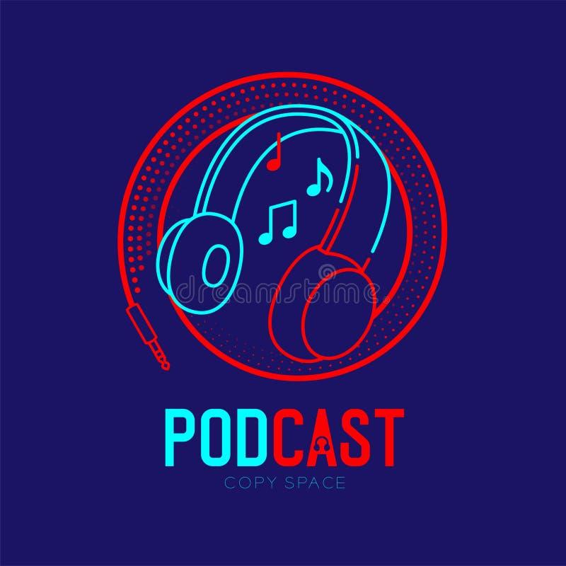 Course d'ensemble d'icône de logo d'écouteur avec la note de musique dans la ligne de tiret de cadre de cercle de câble, concept  illustration stock