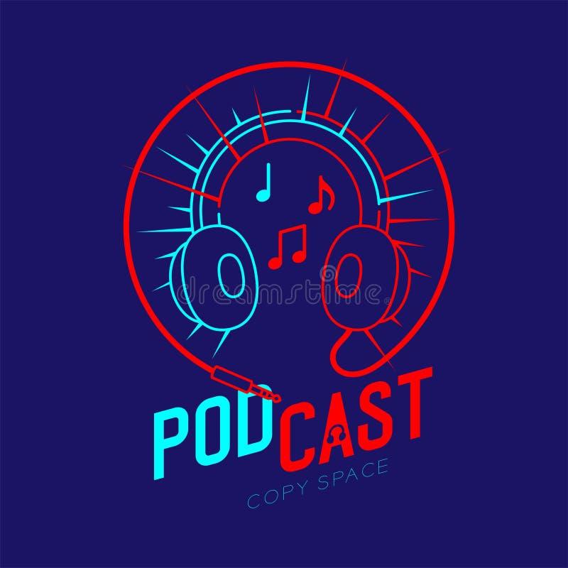 Course d'ensemble d'icône de logo d'écouteur avec la note de musique dans la ligne de tiret de cadre de cercle de câble, concept  illustration libre de droits
