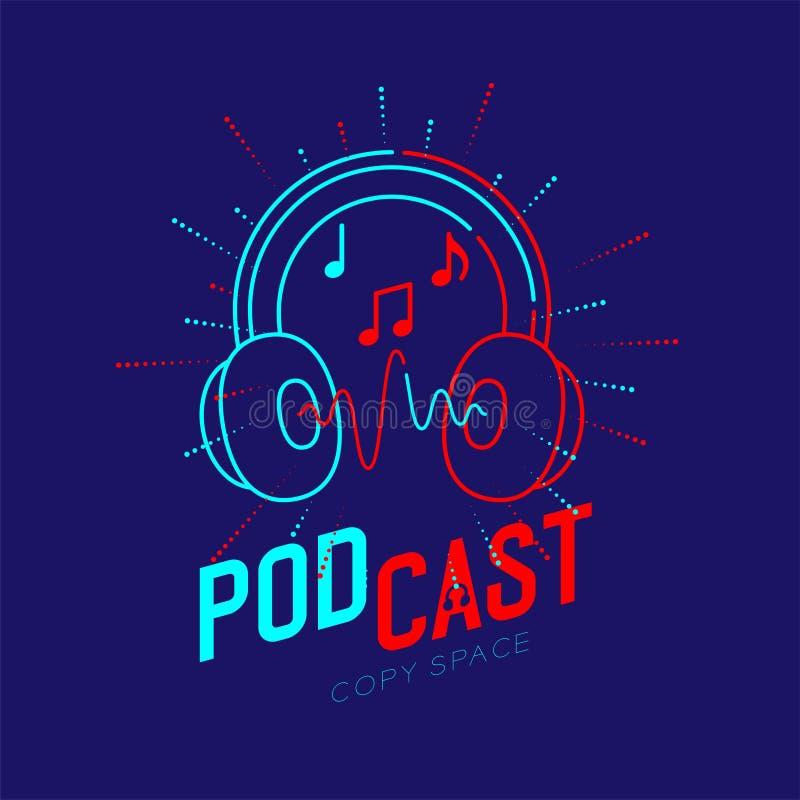 Course d'ensemble d'icône de logo d'écouteur avec la note de musique dans la ligne de tiret de cadre de rayon, concept en ligne P illustration libre de droits