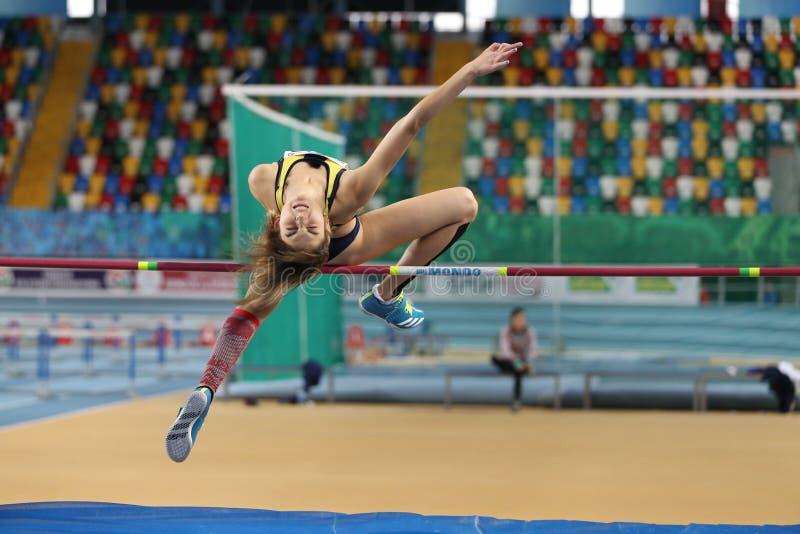 Course d'intérieur de tentative de disque d'athlétisme de fédération sportive turque photo libre de droits