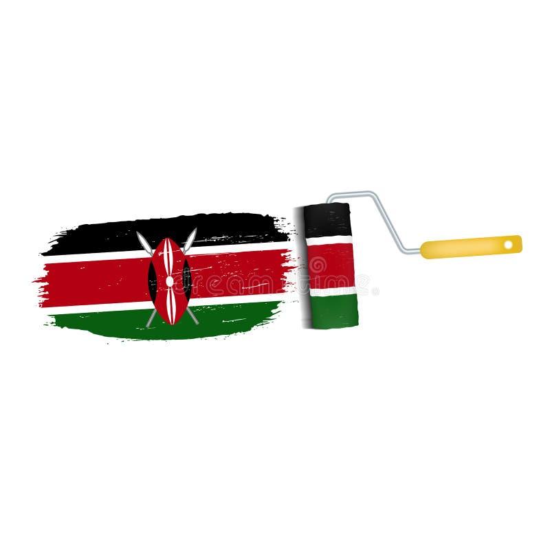 Course de brosse avec le drapeau national du Kenya d'isolement sur un fond blanc Illustration de vecteur illustration libre de droits