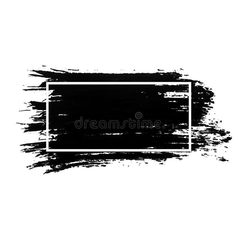 Course de brosse d'encre avec le cadre blanc Peinture acrylique avec la course grunge de texture Tache à l'encre noire sale illustration libre de droits