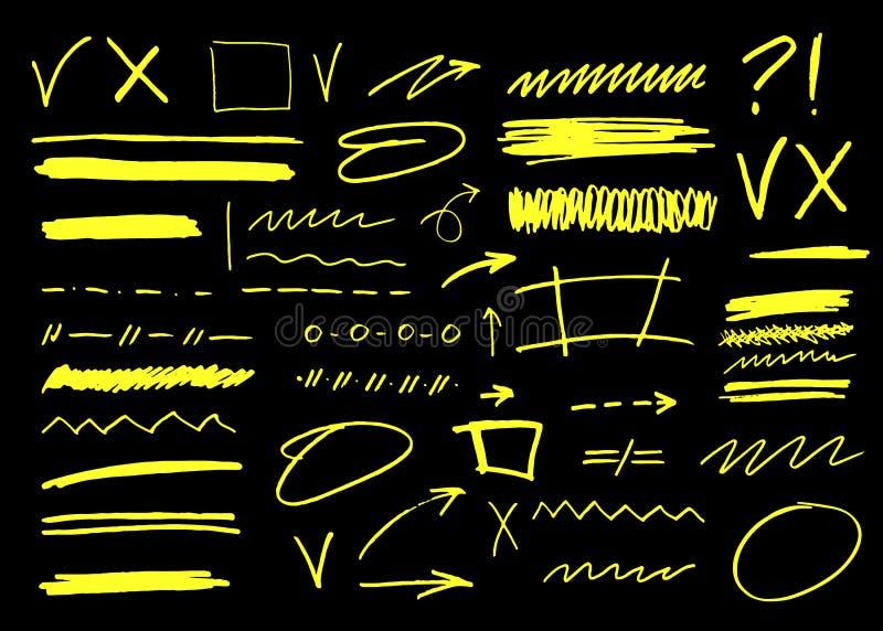 Course de brosse de marqueur de vecteur La barre de mise en valeur soulignent la collection pour l'illustration d'affaires illustration de vecteur