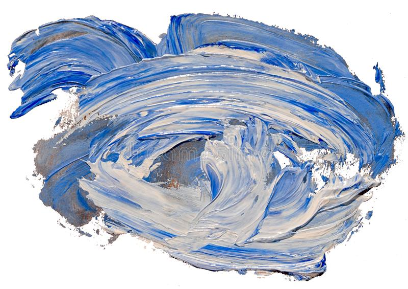 Course de brosse de tache de peinture de texture d'huile paraffin?e bleue et photo stock