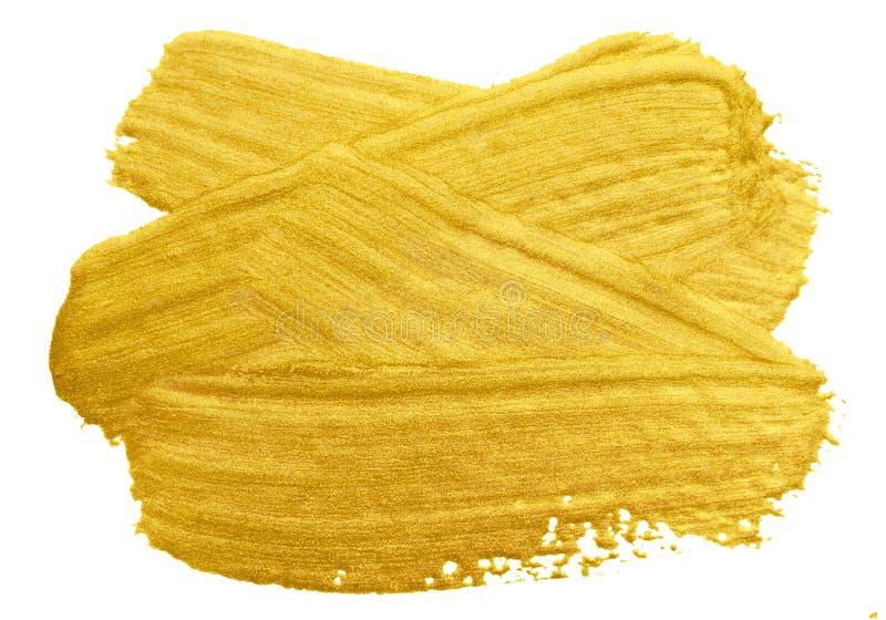 Course de calomnie de pinceau d'or Tache d'or acrylique de couleur sur le fond blanc Illustrati brillant texturisé éclatant d'or  photo libre de droits