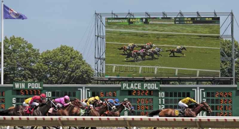 Course de chevaux avec la vue de TV de la course photos stock