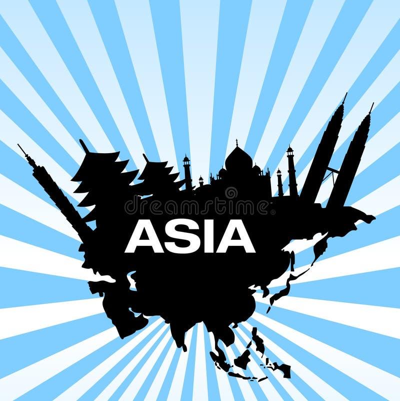 course de destinations de l'Asie illustration libre de droits
