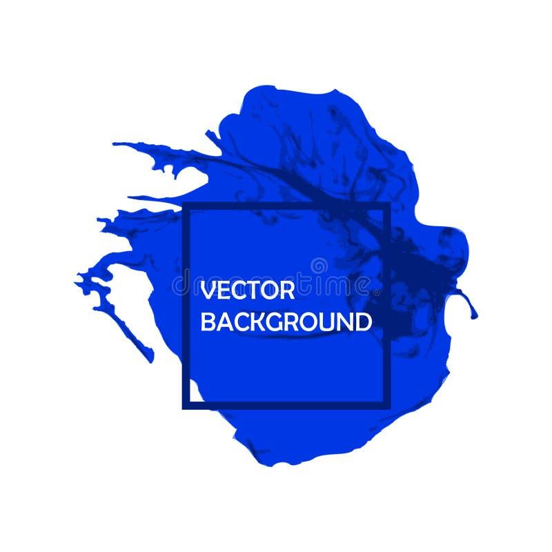 Course de peinture de brosse d'encre bleue avec les bords approximatifs sur le fond blanc illustration libre de droits