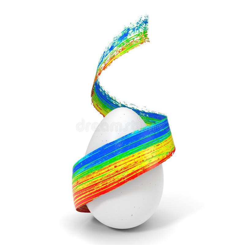 Course de peinture de vol couvrant l'oeuf de pâques illustration 3D illustration de vecteur