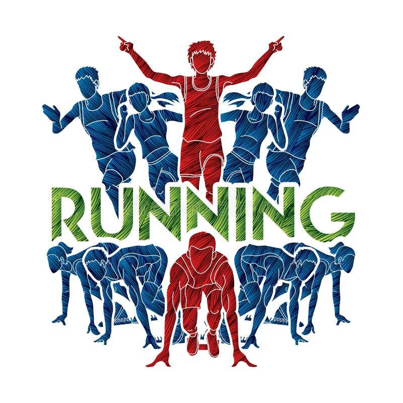 Course de personnes, coureur, fonctionnement de marathon, fonctionnement de travail d'équipe, groupe de personnes courant avec le illustration libre de droits