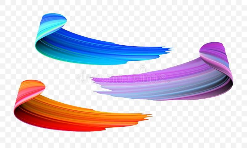 Course de pinceau acrylique Dirigez l'orange lumineuse, le velours ou le pinceau pourpre et bleu du gradient 3d sur le fond trans illustration stock