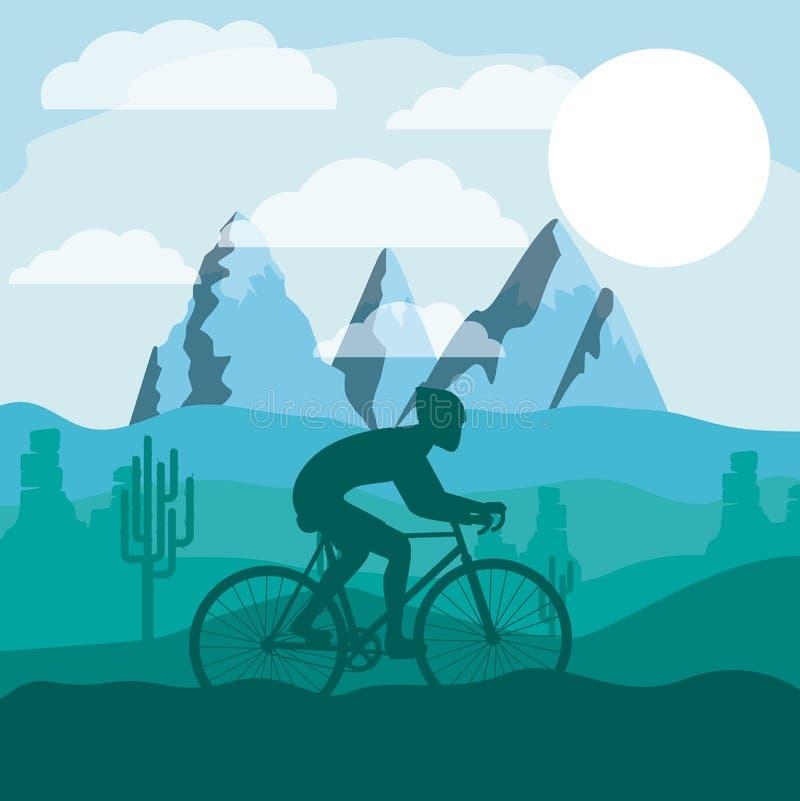 Course de recyclage avec la belle icône d de fond de paysage illustration stock