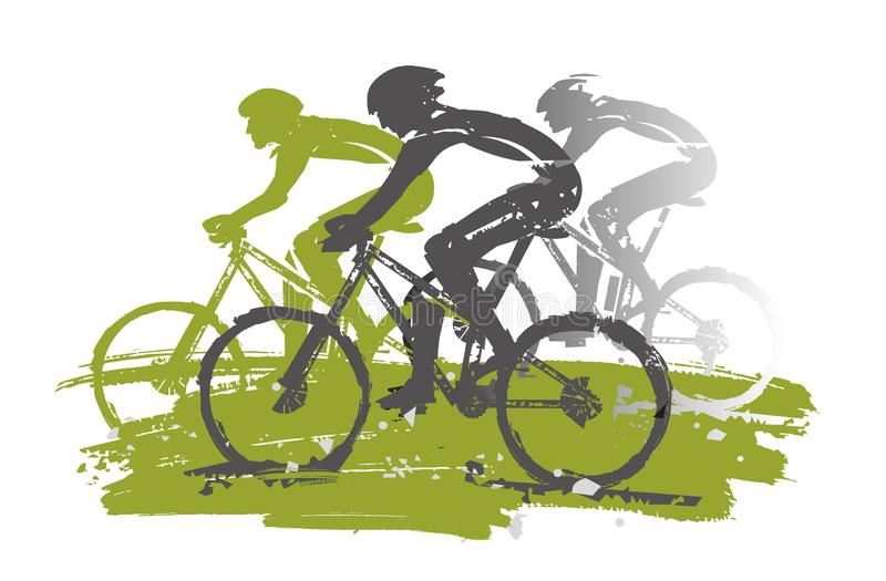 Course de recyclage, cyclistes de montagne, expressif stylisé illustration de vecteur