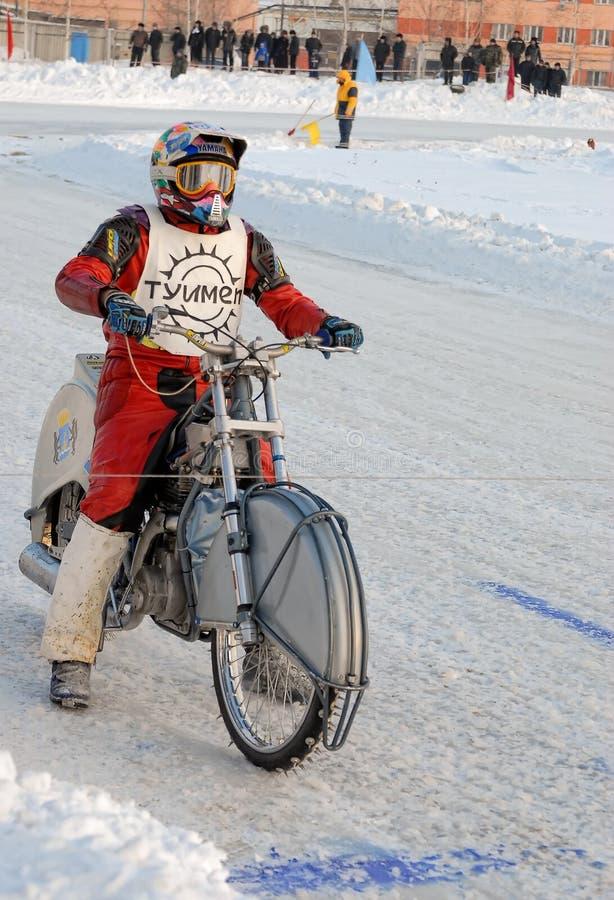 Course de speed-way de glace Tyumen Russie images libres de droits