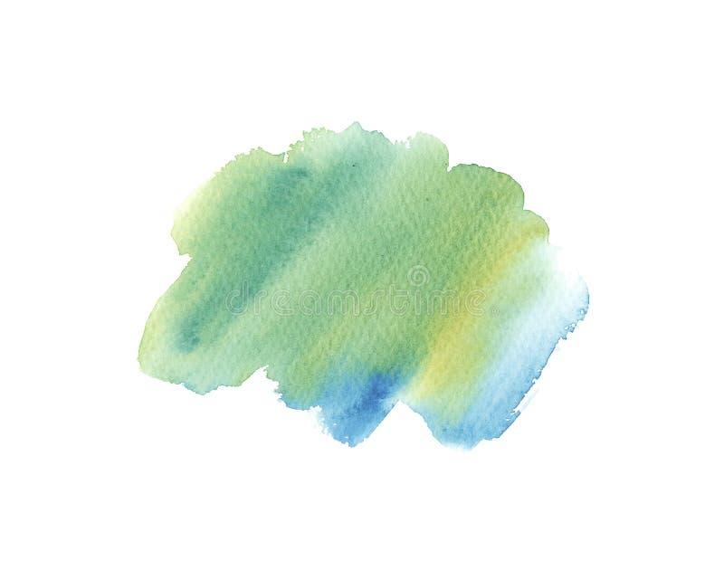 Course de turquoise d'aquarelle, verte et bleue humide de brosse d'isolement sur le fond blanc illustration libre de droits