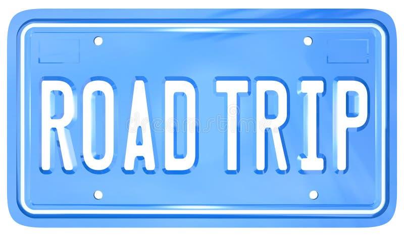 Course de vacances de plaque minéralogique de vanité de voyage par la route illustration stock