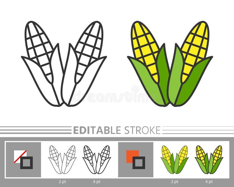 Course editable d'icône linéaire de jour de thanksgiving de maïs illustration de vecteur