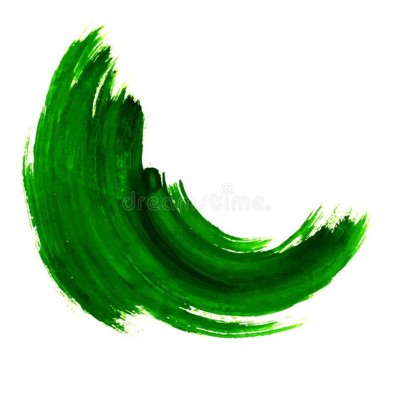 Course et texture vertes de brosse Élément peint à la main d'abrégé sur grunge vecteur Soulignez et marquez la conception de bann illustration stock