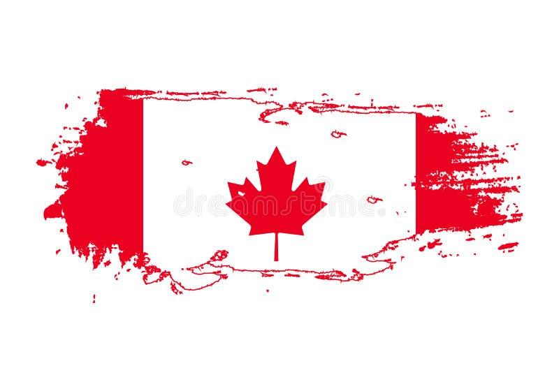 Course grunge de brosse avec le drapeau national du Canada Drapeau de peinture d'aquarelle E Vecteur illustration libre de droits