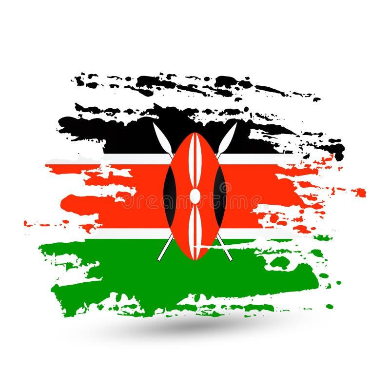 Course grunge de brosse avec le drapeau national du Kenya illustration stock