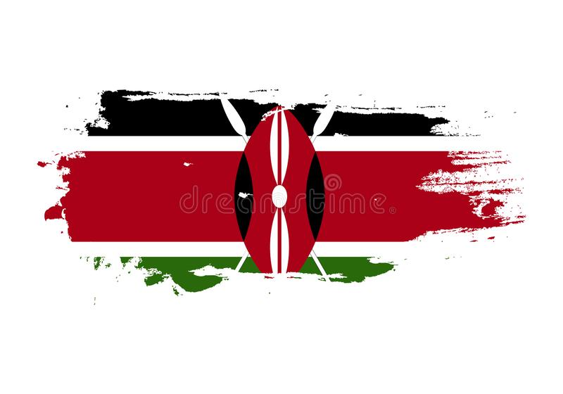 Course grunge de brosse avec le drapeau national du Kenya Drapeau de peinture d'aquarelle Symbole, affiche, bannière Vecteur d'is illustration stock