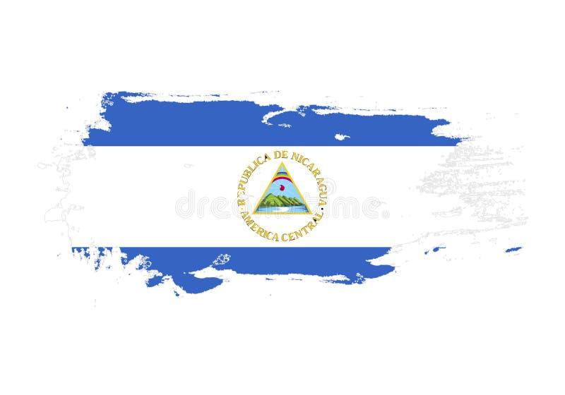 Course grunge de brosse avec le drapeau national du Nicaragua Drapeau de peinture d'aquarelle Symbole, affiche, bannière Vecteur  illustration stock