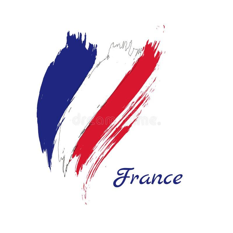 Course grunge de brosse avec le drapeau national de Frances Vecteur d'isolement sur le fond blanc illustration libre de droits
