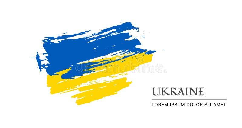 Course grunge de brosse avec le drapeau national de l'Ukraine drapeau de peinture de l'Ukraine Symbole, affiche, banne du drapeau illustration stock