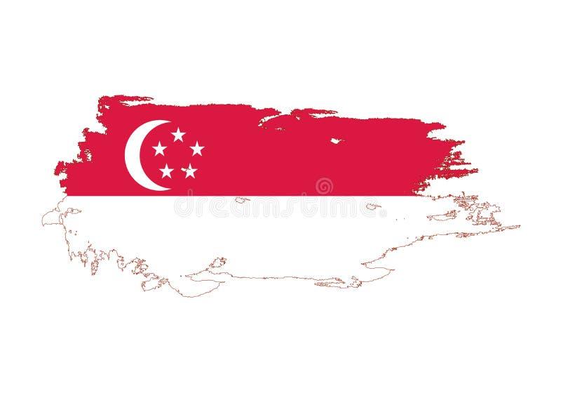 Course grunge de brosse avec le drapeau national de Singapour Drapeau de peinture d'aquarelle Symbole, affiche, bannière Vecteur  illustration de vecteur