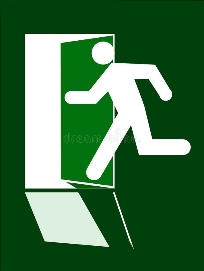 Course humaine de silhouette de sortie de signe dans le doore ouvert sur le fond vert illustration libre de droits