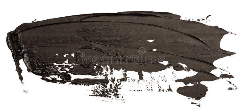 Course noire de brosse de tache de peinture de texture d'huile photos stock
