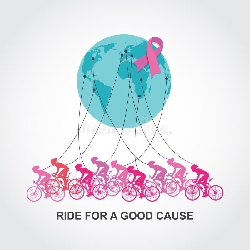Course ou concurrence de recyclage de conscience de Cancer tour pour une bonnes cause et charité illustration de vecteur