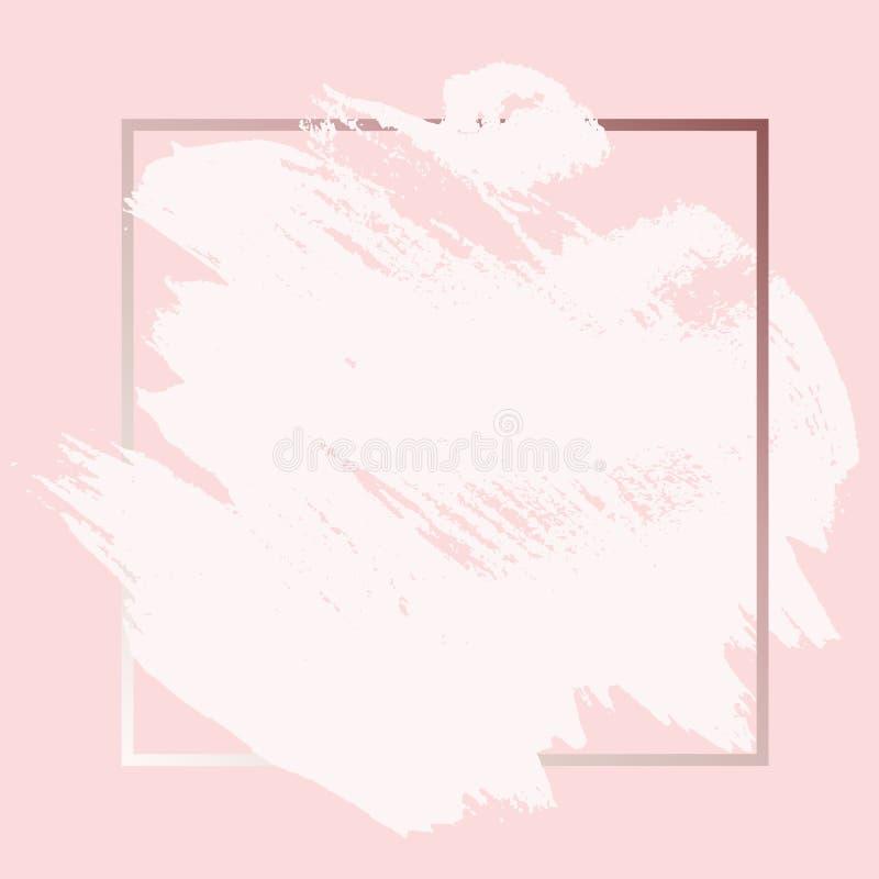 Course rose d'encre de peinture de Rose Gold Grunge Brush avec le fond carré de cadre Illustration de vecteur illustration libre de droits