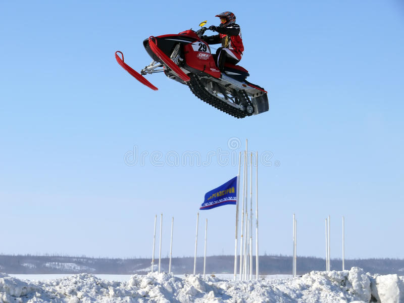 Course transnationale de neige photo stock