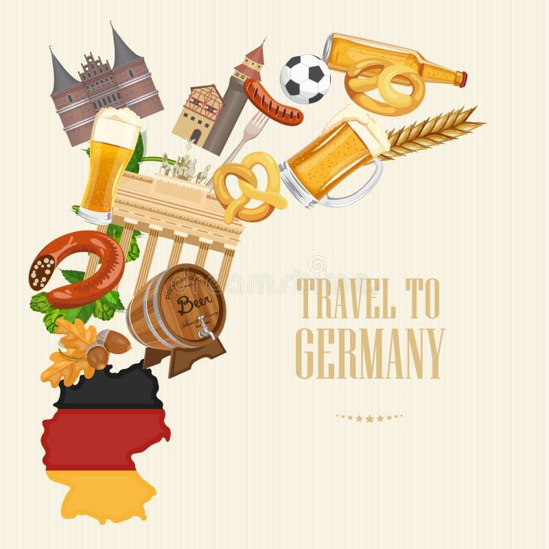 Course vers l'Allemagne Concept d'architecture de voyage Fond touristique avec des points de repère, châteaux, monuments illustration de vecteur