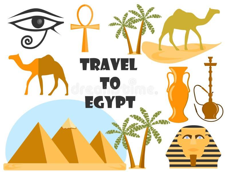 Course vers l'Egypte Symboles de l'Egypte Tourisme et aventure illustration de vecteur