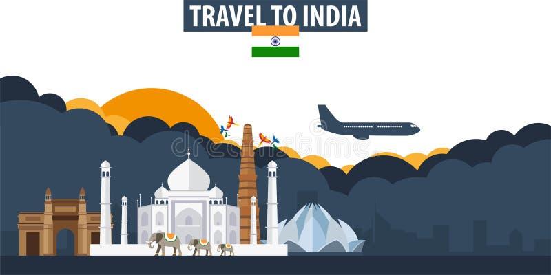 Course vers l'Inde Bannière de voyage et de tourisme Nuages et soleil avec illustration libre de droits