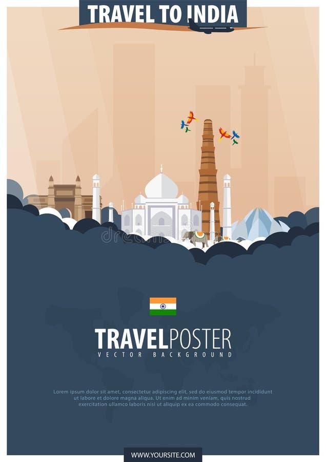 Course vers l'Inde Voyage et affiche de tourisme Illustra plat de vecteur illustration stock