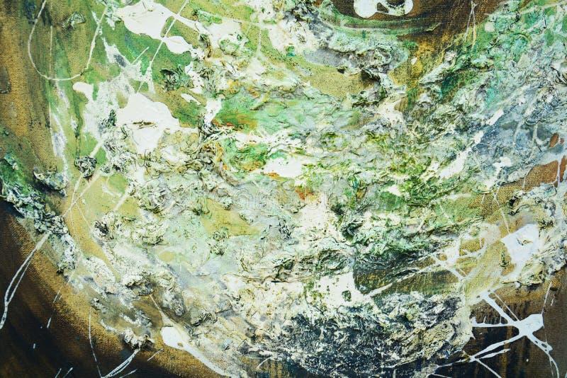 Courses abstraites de peinture à l'huile de vert d'or, fond organique d'hypnotique de textile photographie stock
