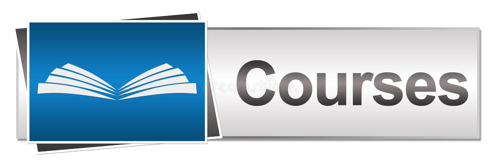 Courses Button Style. Courses concept image with educational element and text royalty free illustration