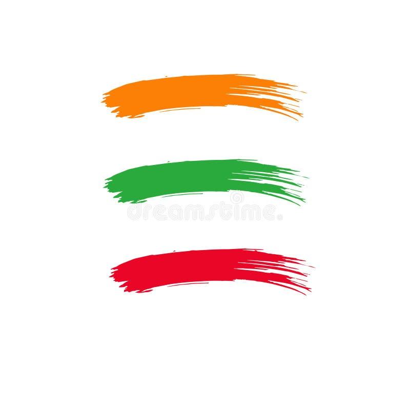 Courses colorées abstraites de brosse sur le papier grunge illustration libre de droits