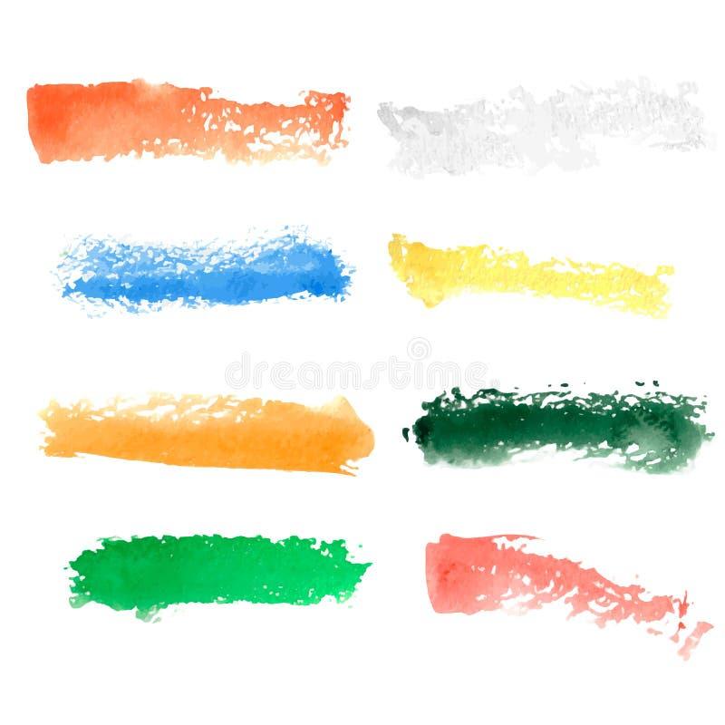 Courses colorées de brosse d'aquarelle de vecteur illustration de vecteur