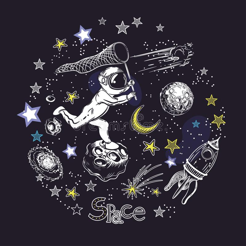 Courses d'astronaute pour la comète Rocket, asteroïdes et la lune Composition circulaire illustration stock