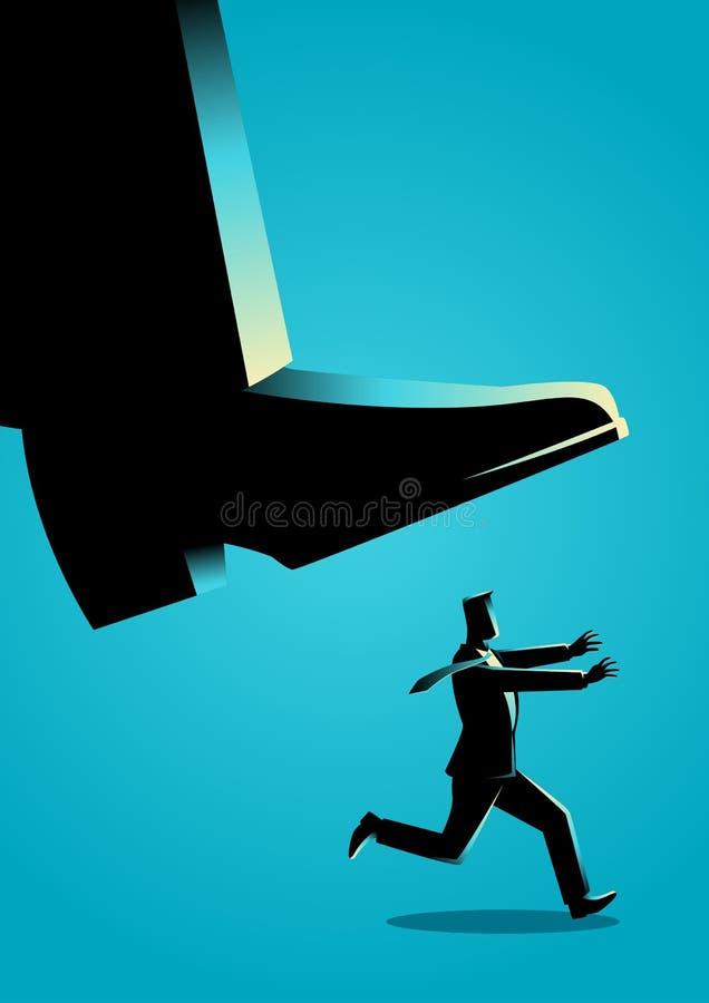 Courses d'homme d'affaires de pied géant illustration libre de droits